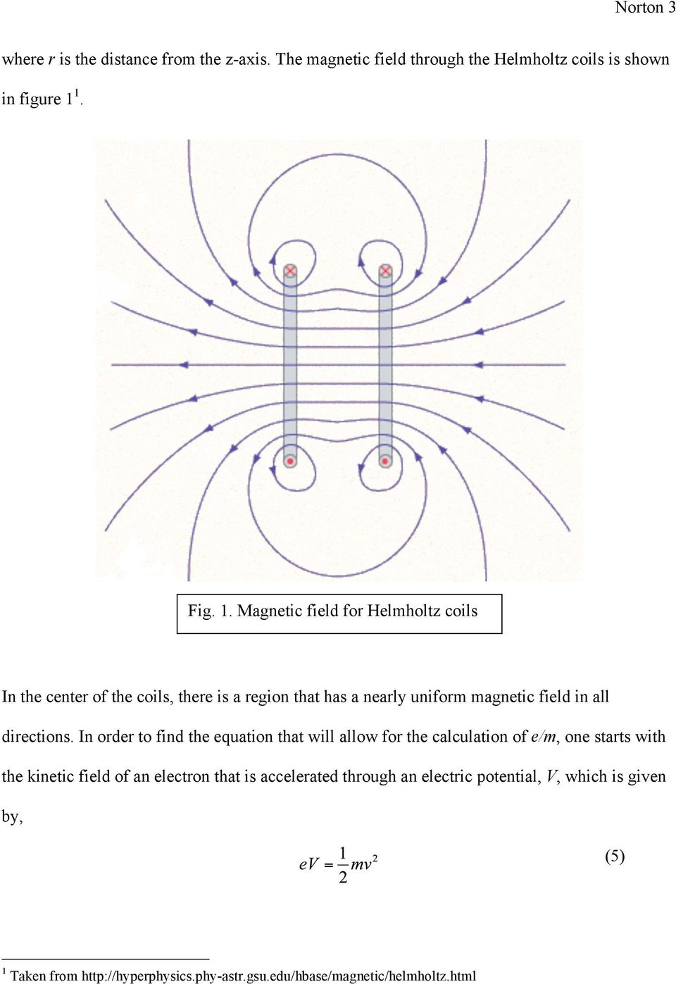 Magnetic field for Helmholtz coils In the center of the coils, there is a region that has a nearly uniform magnetic field in all