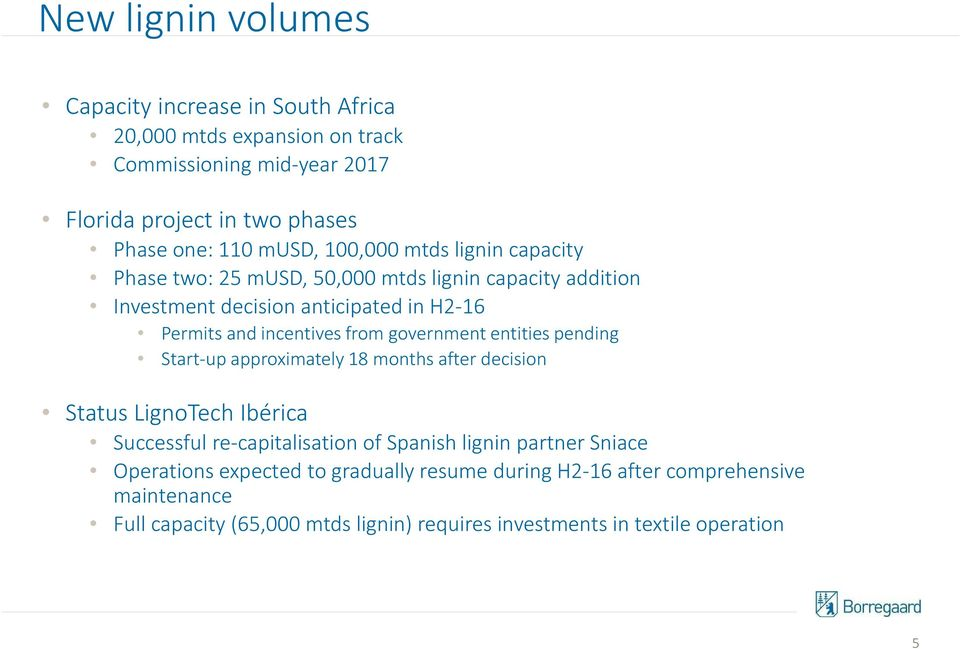 entities pending Start-up approximately 18 months after decision Status LignoTech Ibérica Successful re-capitalisation of Spanish lignin partner Sniace