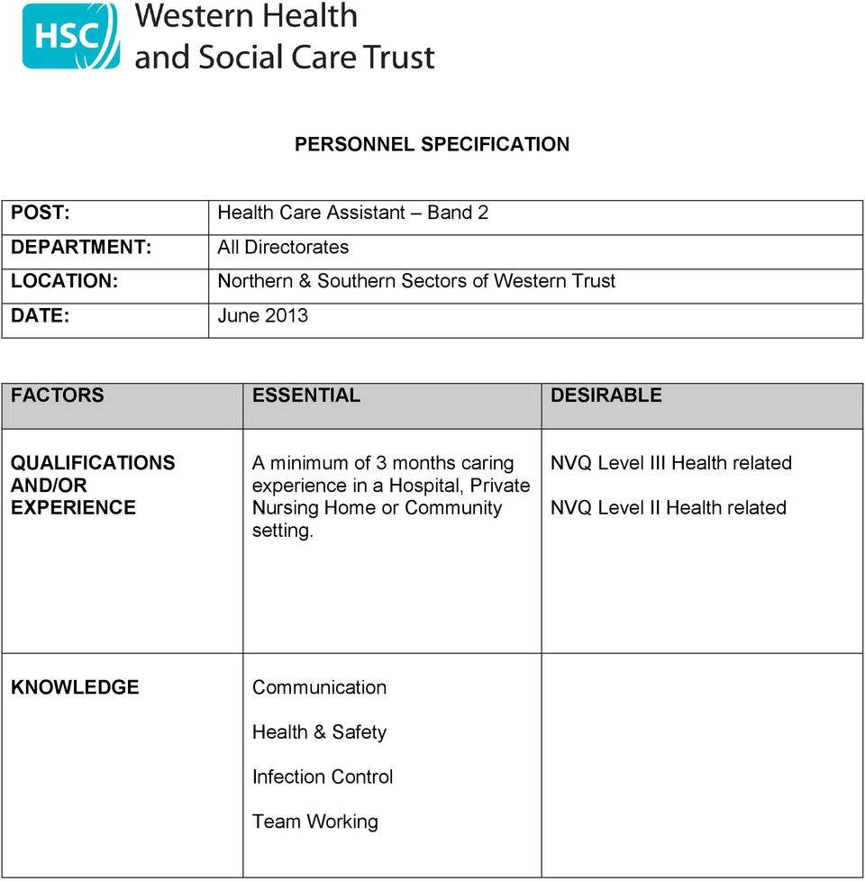 A minimum of 3 months caring experience in a Hospital, Private Nursing Home or Community setting.