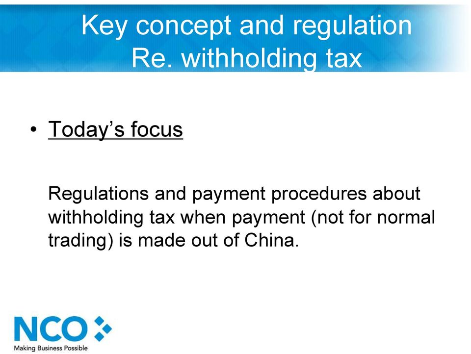 and payment procedures about withholding tax