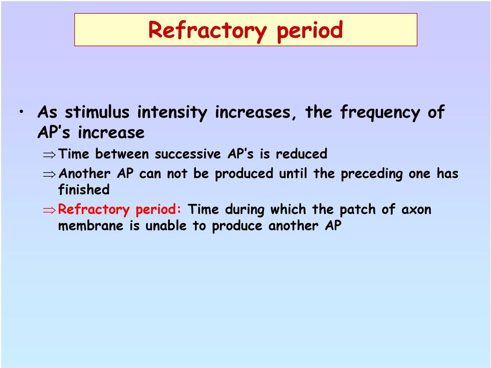be produced until the preceding one has finished Refractory period: