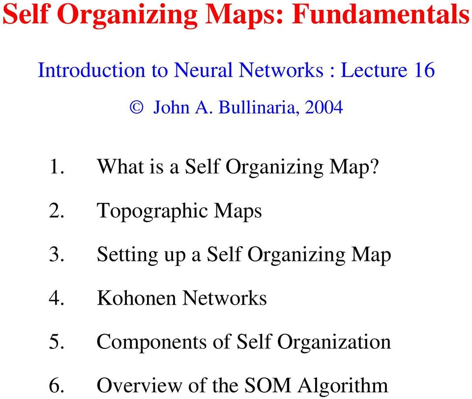 2. Topographic Maps 3. Setting up a Self Organizing Map 4.