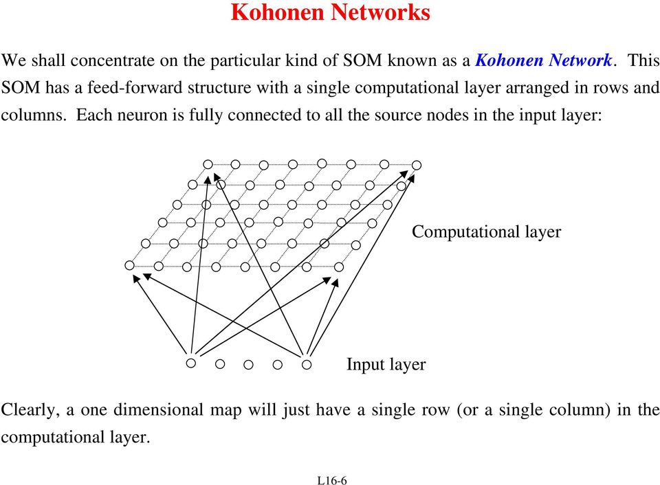 Each neuron is fully connected to all the source nodes in the input layer: Computational layer Clearly,