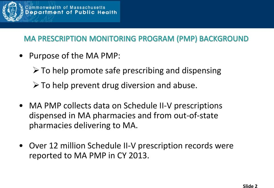 MA PMP collects data on Schedule II-V prescriptions dispensed in MA pharmacies and from