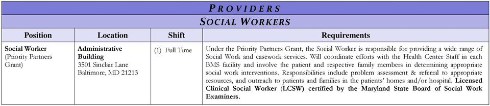 Will coordinate efforts with the Health Center Staff in each BMS facility and involve the patient and respective family members in determining appropriate social work
