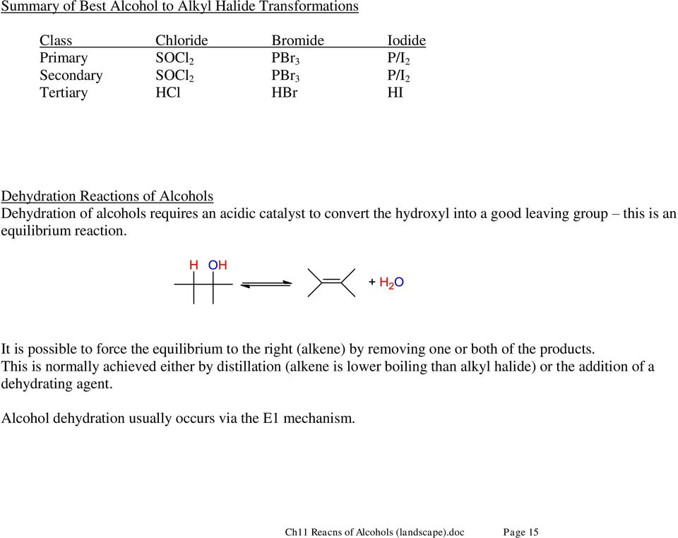 It is possible to force the equilibrium to the right (alkene) by removing one or both of the products.