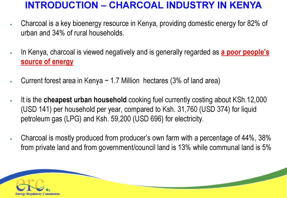 7 Million hectares (3% of land area) It is the cheapest urban household cooking fuel currently costing about KSh.12,000 (USD 141) per household per year, compared to Ksh.