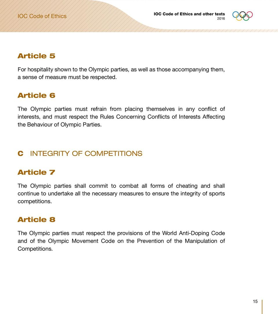 Behaviour of Olympic Parties.