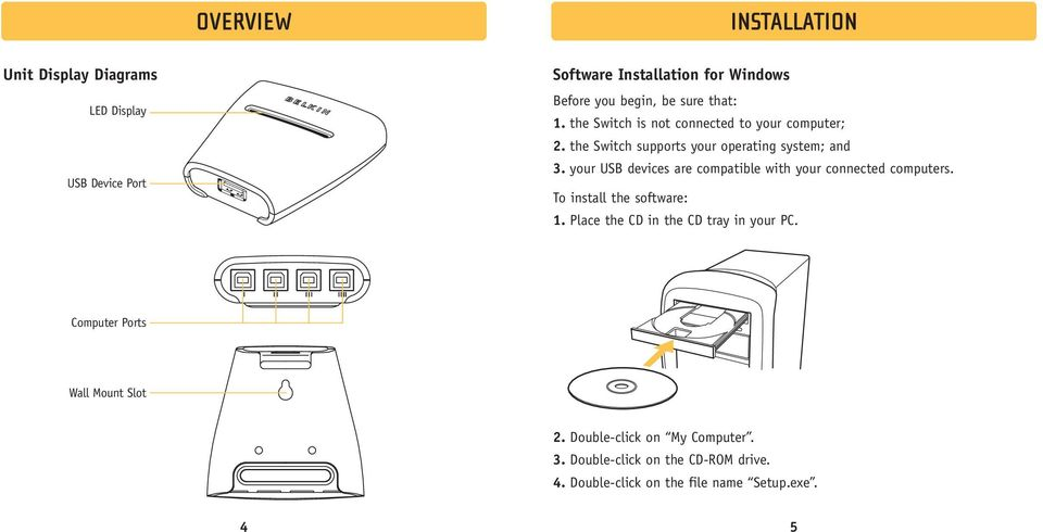 your USB devices are compatible with your connected computers. To install the software: 1. Place the CD in the CD tray in your PC.