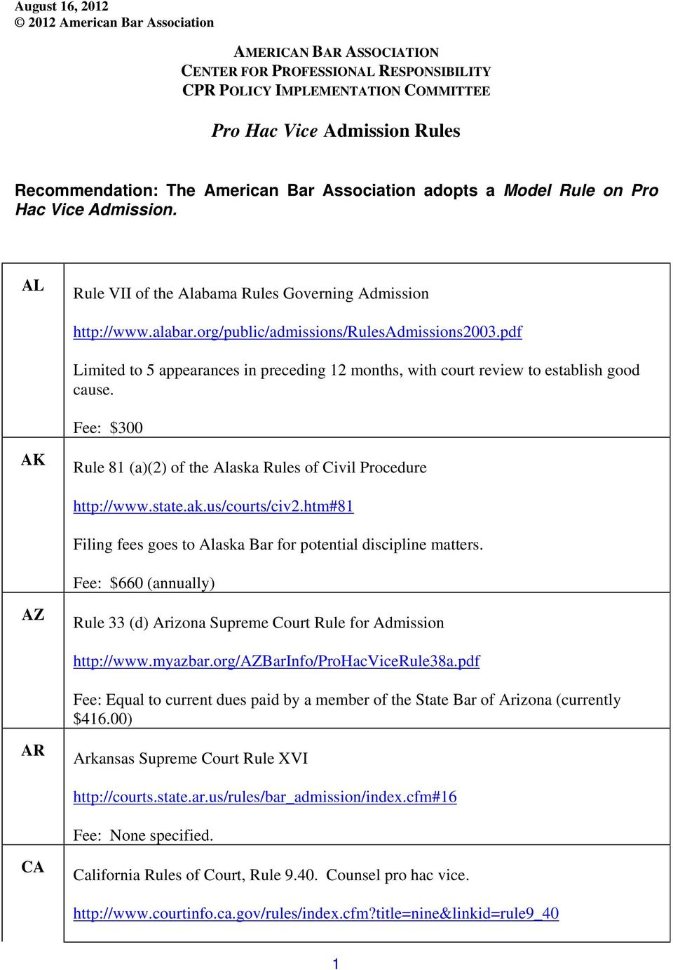 pdf Limited to 5 appearances in preceding 12 months, with court review to establish good cause. Fee: $300 AK Rule 81 (a)(2) of the Alaska Rules of Civil Procedure http://www.state.ak.us/courts/civ2.