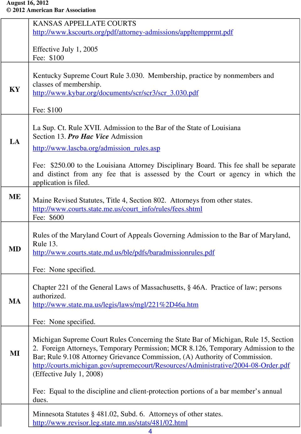 Admission to the Bar of the State of Louisiana Section 13. Pro Hac Vice Admission http://www.lascba.org/admission_rules.asp Fee: $250.00 to the Louisiana Attorney Disciplinary Board.