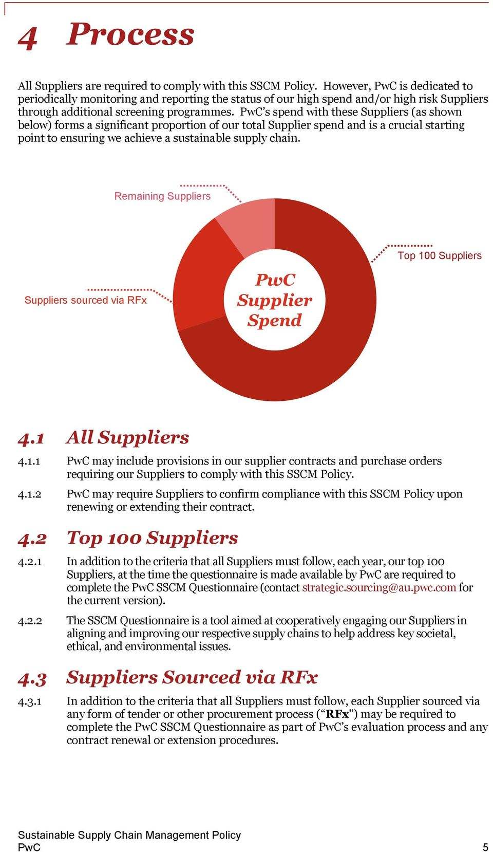 PwC s spend with these Suppliers (as shown below) forms a significant proportion of our total Supplier spend and is a crucial starting point to ensuring we achieve a sustainable supply chain.