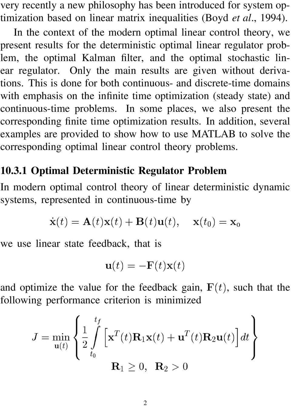regulator. Only the main results are given without derivations.