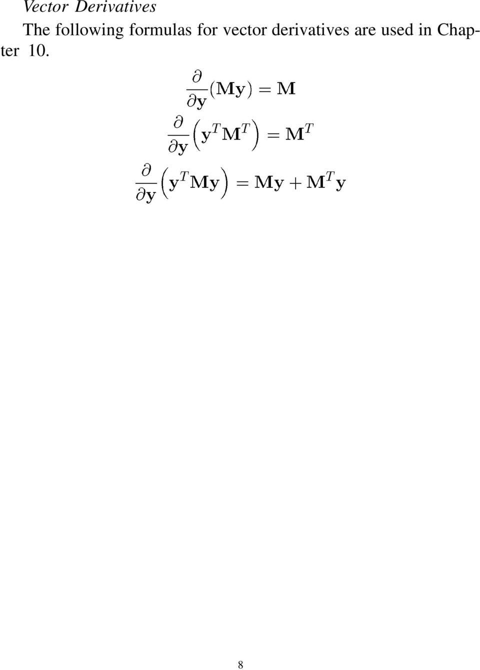 for vector derivatives