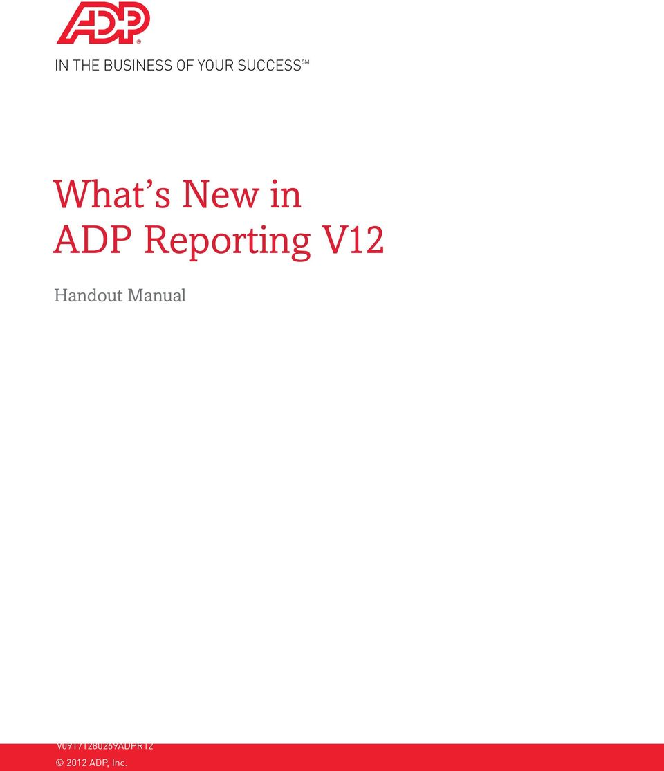 ADP Reporting Grids V12 Instructor Handout