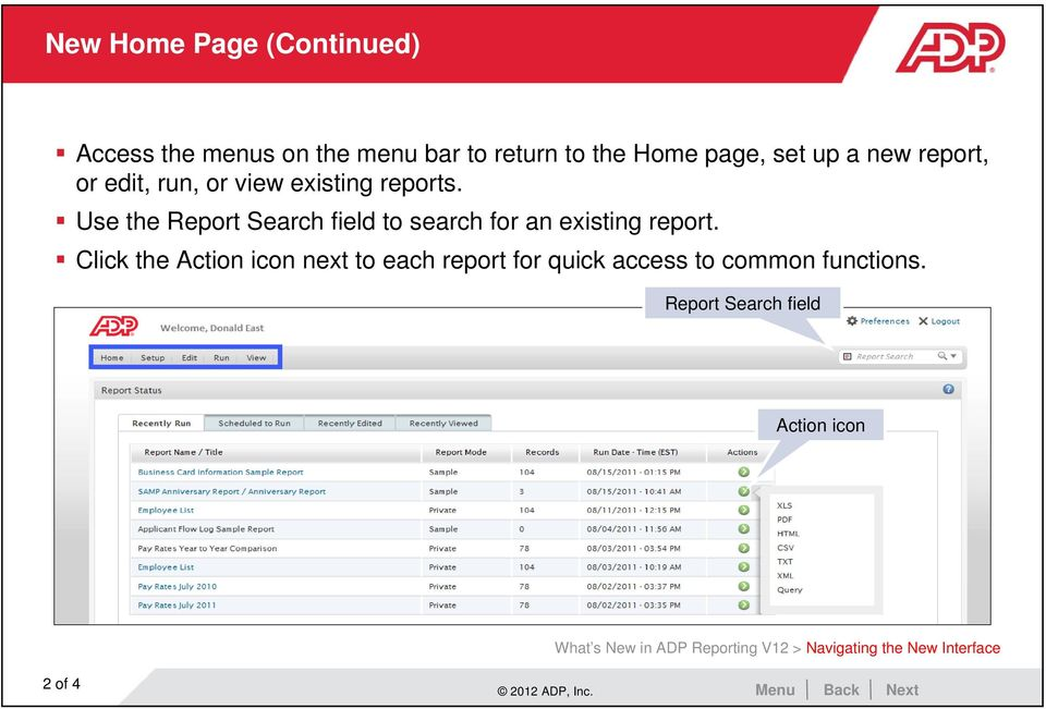 Use the Report Search field to search for an existing report.