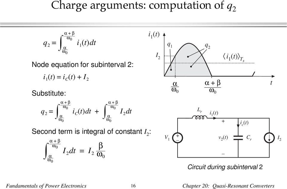 0 Second term is integral of constant I : α β α ω 0 ω 0 β I dt = I ω0 V 1 i c Circuit
