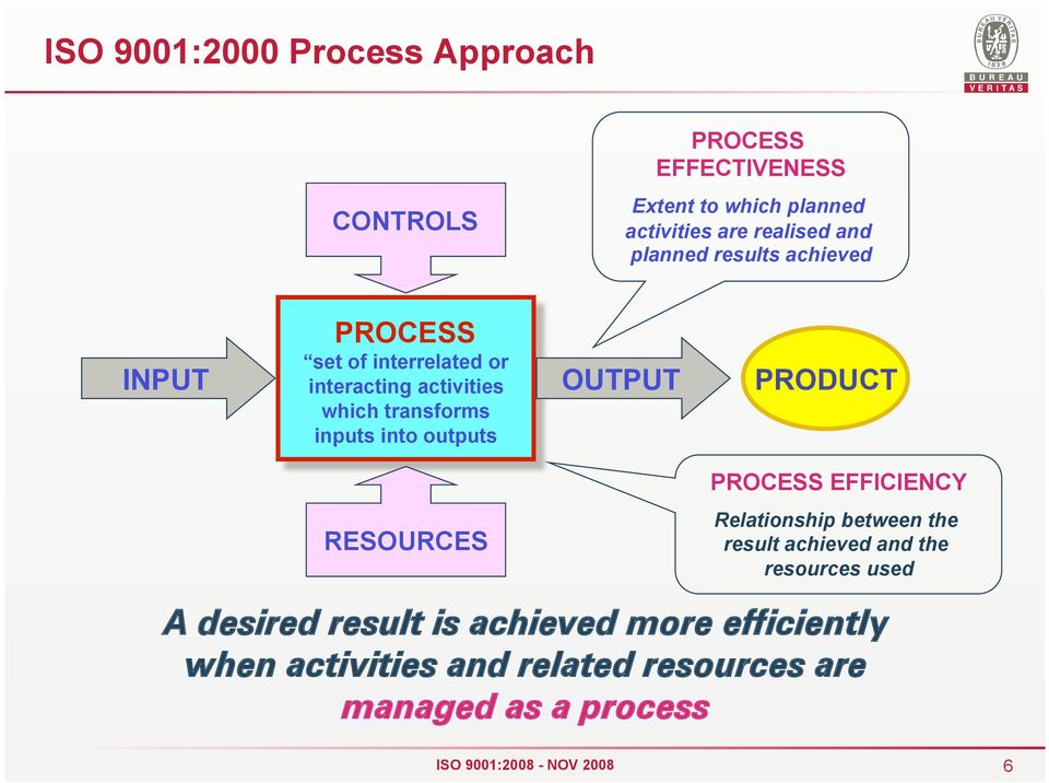 outputs OUTPUT PRODUCT PROCESS EFFICIENCY RESOURCES Relationship between the result achieved and the resources