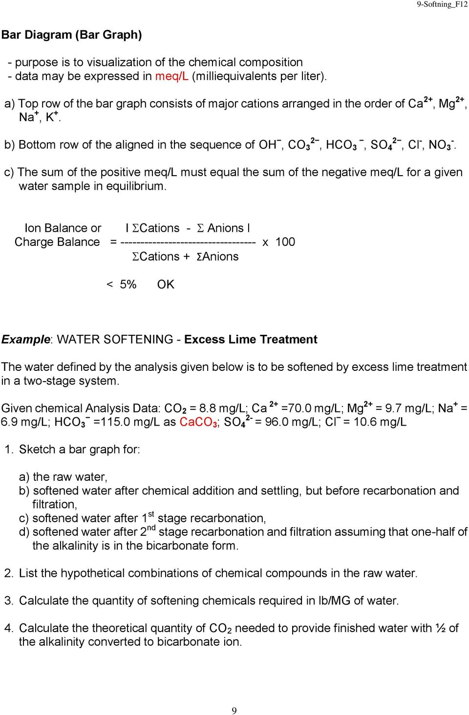 c) The sum of the positive meq/l must equal the sum of the negative meq/l for a given water sample in equilibrium.