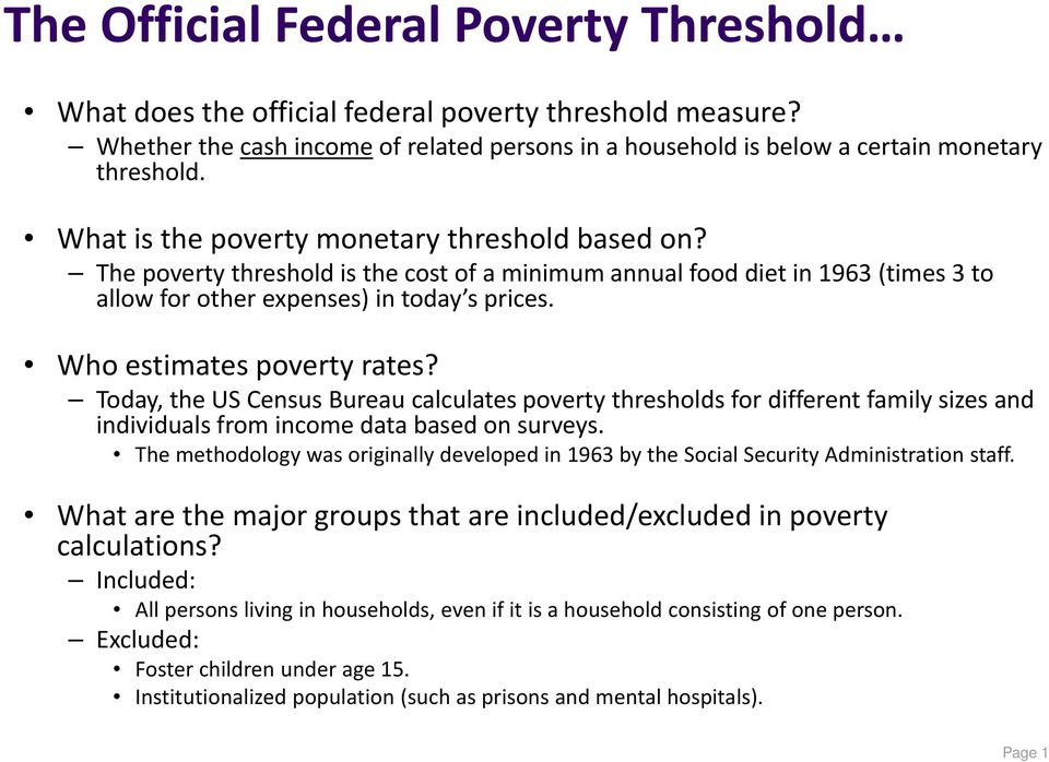 Who estimates poverty rates? Today, the US Census Bureau calculates poverty thresholds for different family sizes and individuals from income data based on surveys.