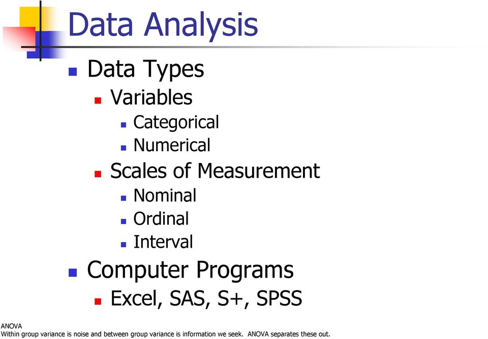 Data Analysis Data Types Variables Categorical Numerical Scales