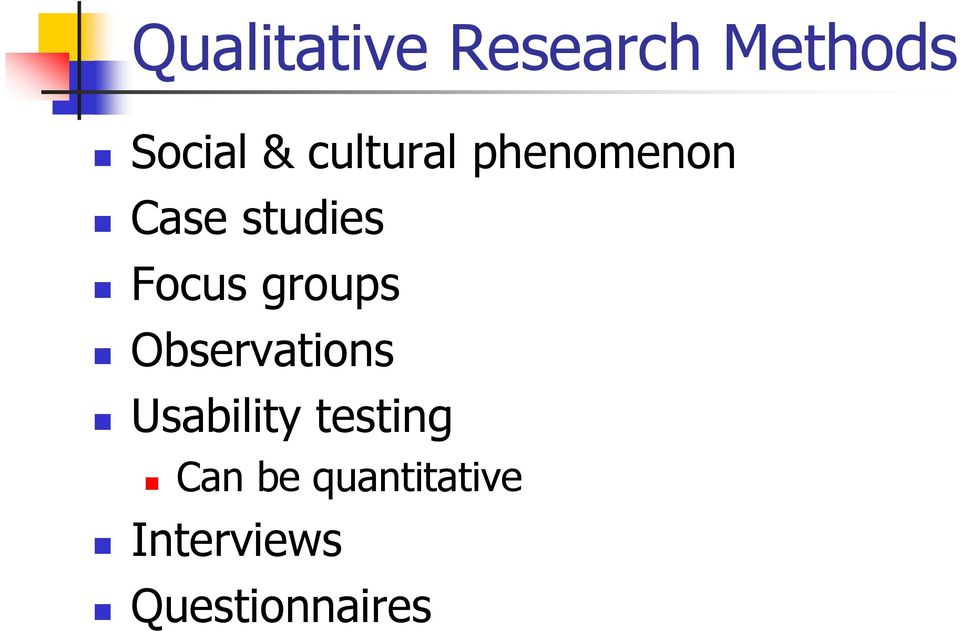 groups Observations Usability testing