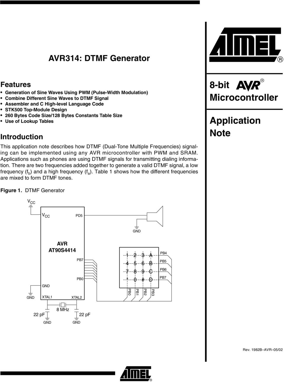 using any AVR microcontroller with PWM and SRAM. Applications such as phones are using DTMF signals for transmitting dialing information.