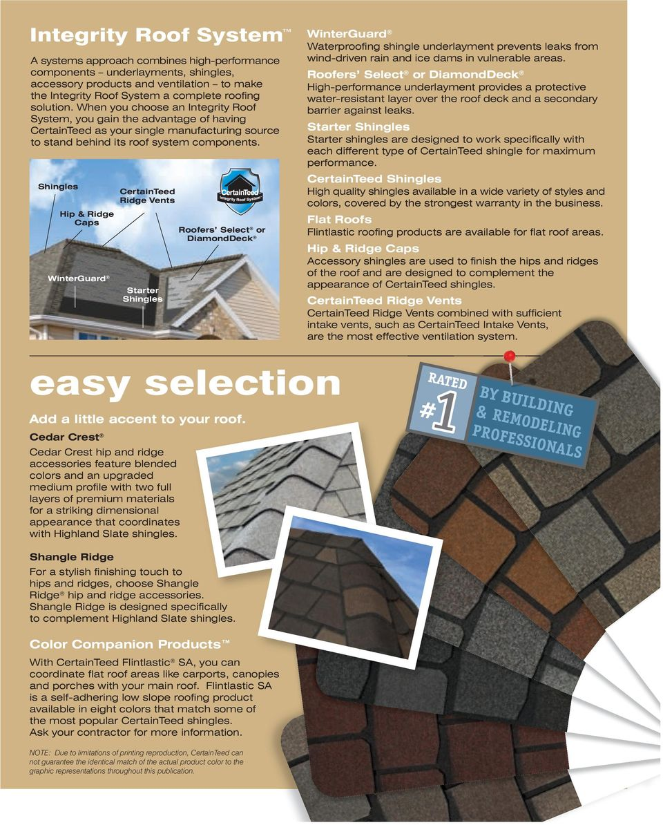Shingles Hip & Ridge Caps WinterGuard CertainTeed Ridge Vents Starter Shingles Roofers Select or DiamondDeck WinterGuard Waterproofing shingle underlayment prevents leaks from wind-driven rain and