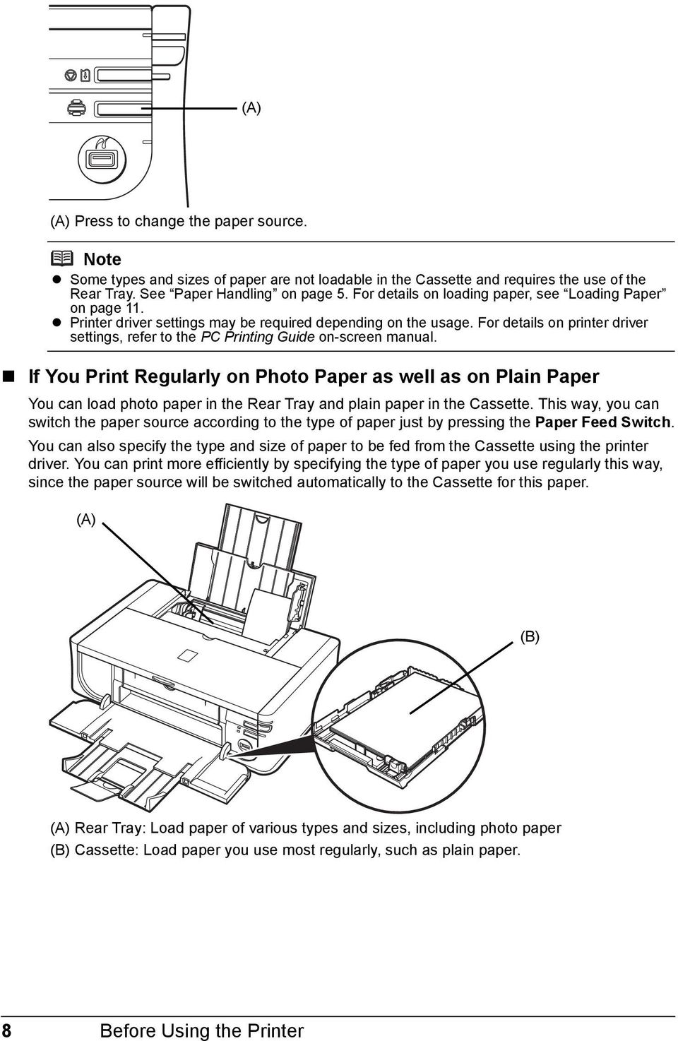 For details on printer driver settings, refer to the PC Printing Guide on-screen manual.