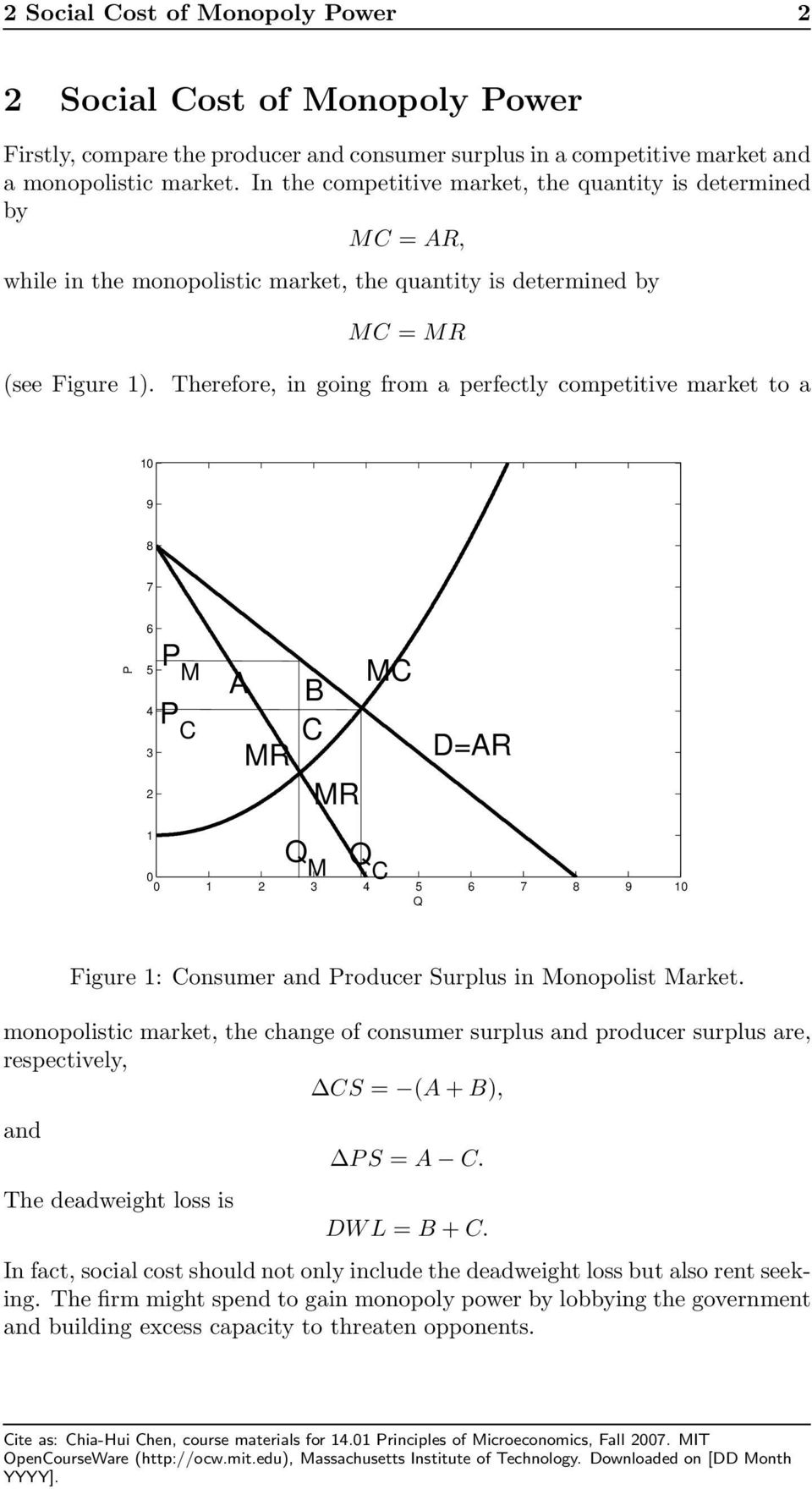 Therefore, in going from a perfectly competitive market to a M C A B C D= M C Figure : Consumer and roducer Surplus in Monopolist Market.