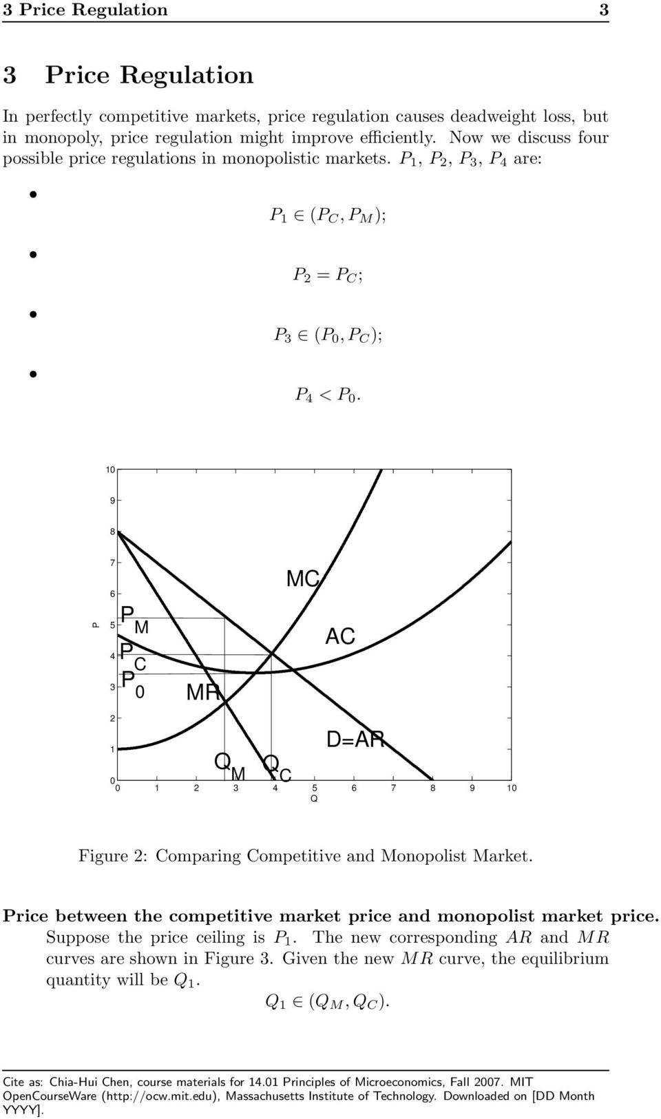 M C M C AC D= Figure : Comparing Competitive and Monopolist Market. rice between the competitive market price and monopolist market price.