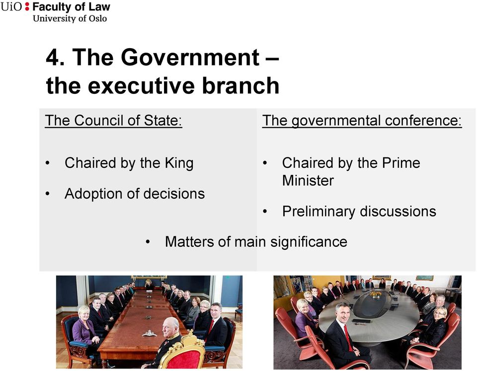King Adoption of decisions Chaired by the Prime