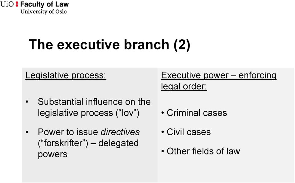 directives ( forskrifter ) delegated powers Executive power