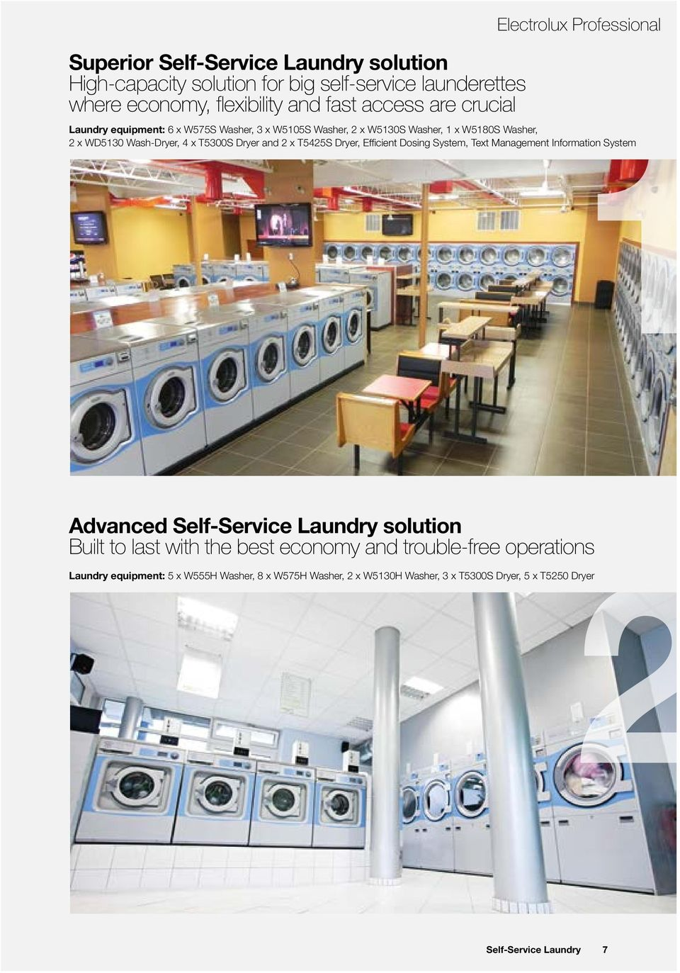 Dryer and 2 x T5425S Dryer, Efficient Dosing System, Text Management Information System Advanced Self-Service Laundry solution Built to last with the best