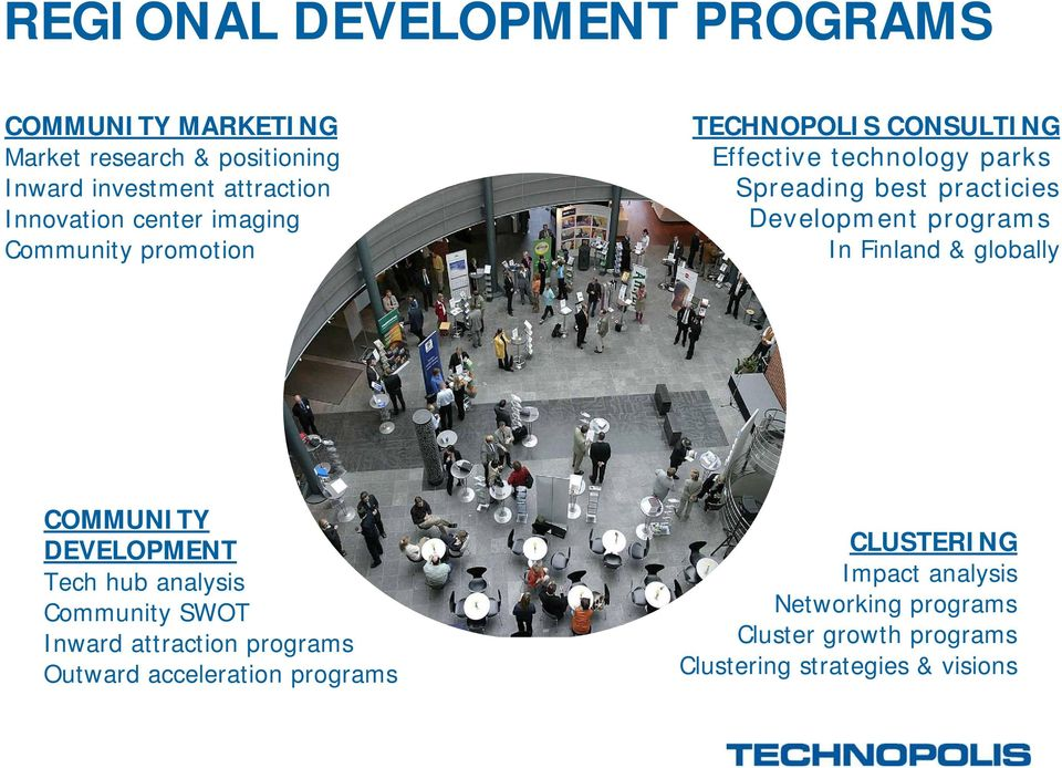 Development programs In Finland & globally COMMUNITY DEVELOPMENT Tech hub analysis Community SWOT Inward attraction