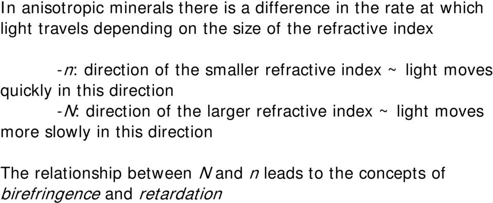 in this direction -N: direction of the larger refractive index ~ light moves more slowly in this