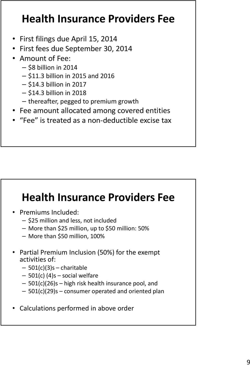 3 billion in 2018 thereafter, pegged to premium growth Fee amount allocated among covered entities Fee is treated as a non deductible excise tax Health Insurance Providers Fee Premiums