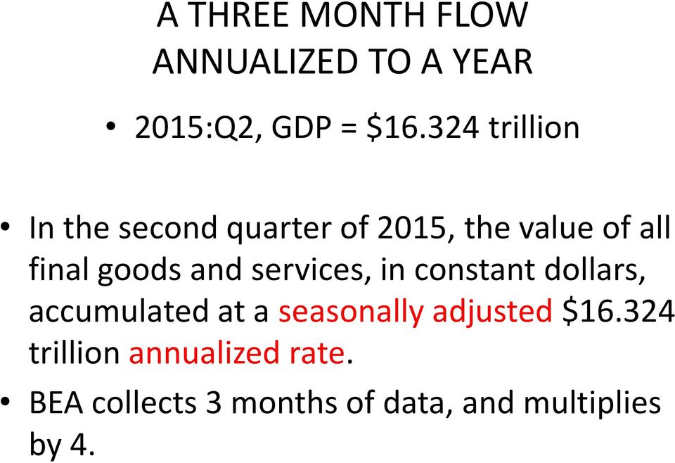 and services, in constant dollars, accumulated at a seasonally adjusted