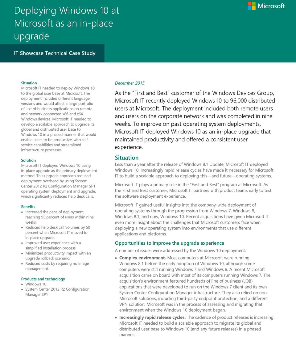 Deploying Windows 10 at Microsoft as an in-place upgrade - PDF