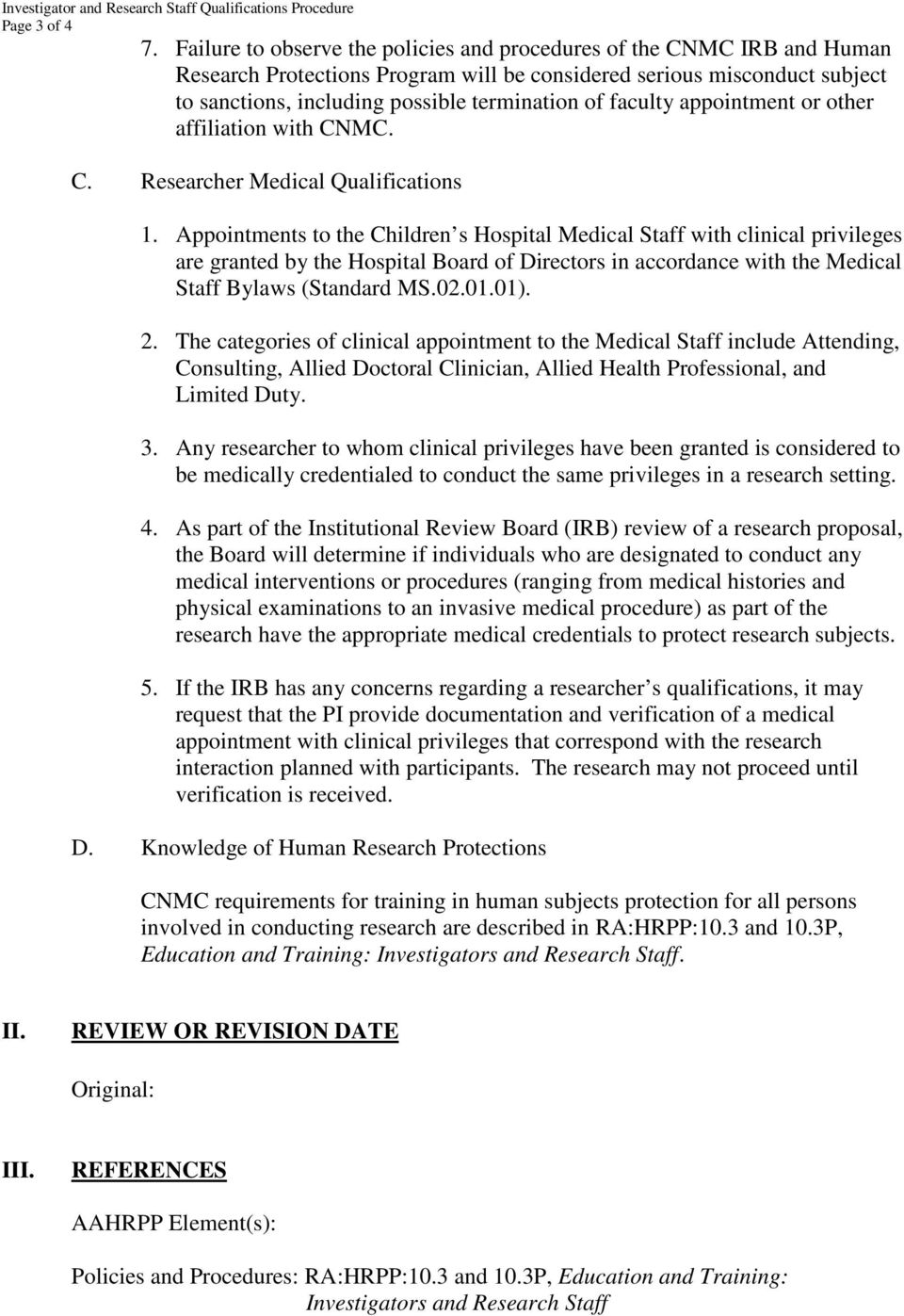subject investigator and research staff policy rahrpp
