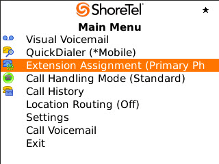 ShoreTel Communicator for Mobile Installing ShoreTel Communicator for Mobile 1 Figure 9 Main Menu Page Element Visual Voicemail QuickDialer Call Handling Mode () Call History Location Routing