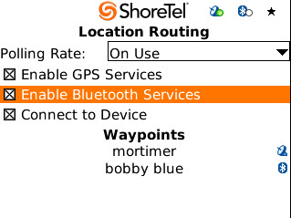 ShoreTel Communicator for Mobile Configuring Settings To verify that your Bluetooth is paired to your mobile device: Navigate to the Location Routing page. Make sure that Enable Bluetooth is checked.