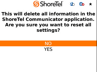 ShoreTel Communicator for Mobile Using Call Voicemail Step 3 Select Settings. The Settings page appears. Scroll down to Reset and press the Return key on your device.