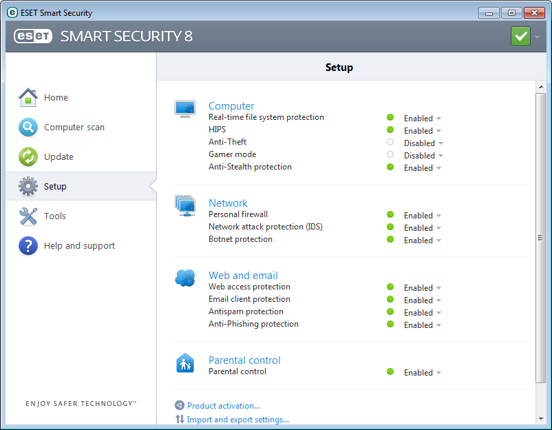 4. Work with ESET Smart Security The ESET Smart Security setup options allow you to adjust the protection levels of your computer and network.