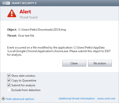 Cleaning and deleting If there is no predefined action to take for Real-time file system protection, you will be prompted to select an option in the alert window.