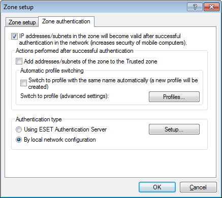 4.2.4.1.2 Zone authentication - Server configuration The authentication process can be executed by any computer/server connected to the network that is to be authenticated.