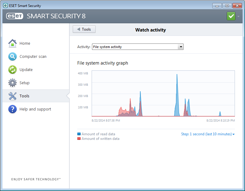 4.6.3 Protection statistics To view a graph of statistical data related to ESET Smart Security's protection modules, click Tools > Protection statistics.