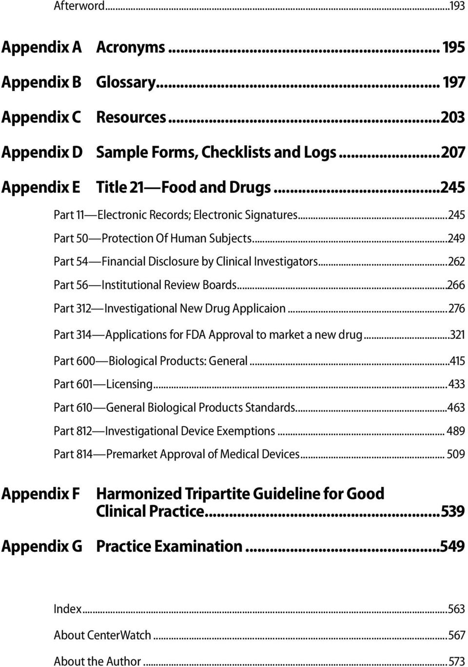 ..266 Part 312 Investigational New Drug Applicaion... 276 Part 314 Applications for FDA Approval to market a new drug...321 Part 600 Biological Products: General...415 Part 601 Licensing.
