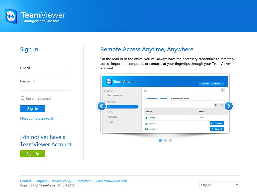 To be able to work with the TeamViewer Management Console, you have to sign in on the left side using your TeamViewer account.
