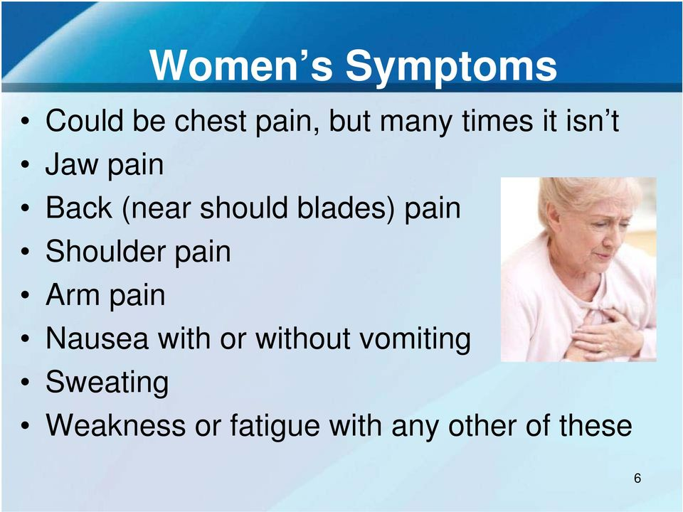 Shoulder pain Arm pain Nausea with or without
